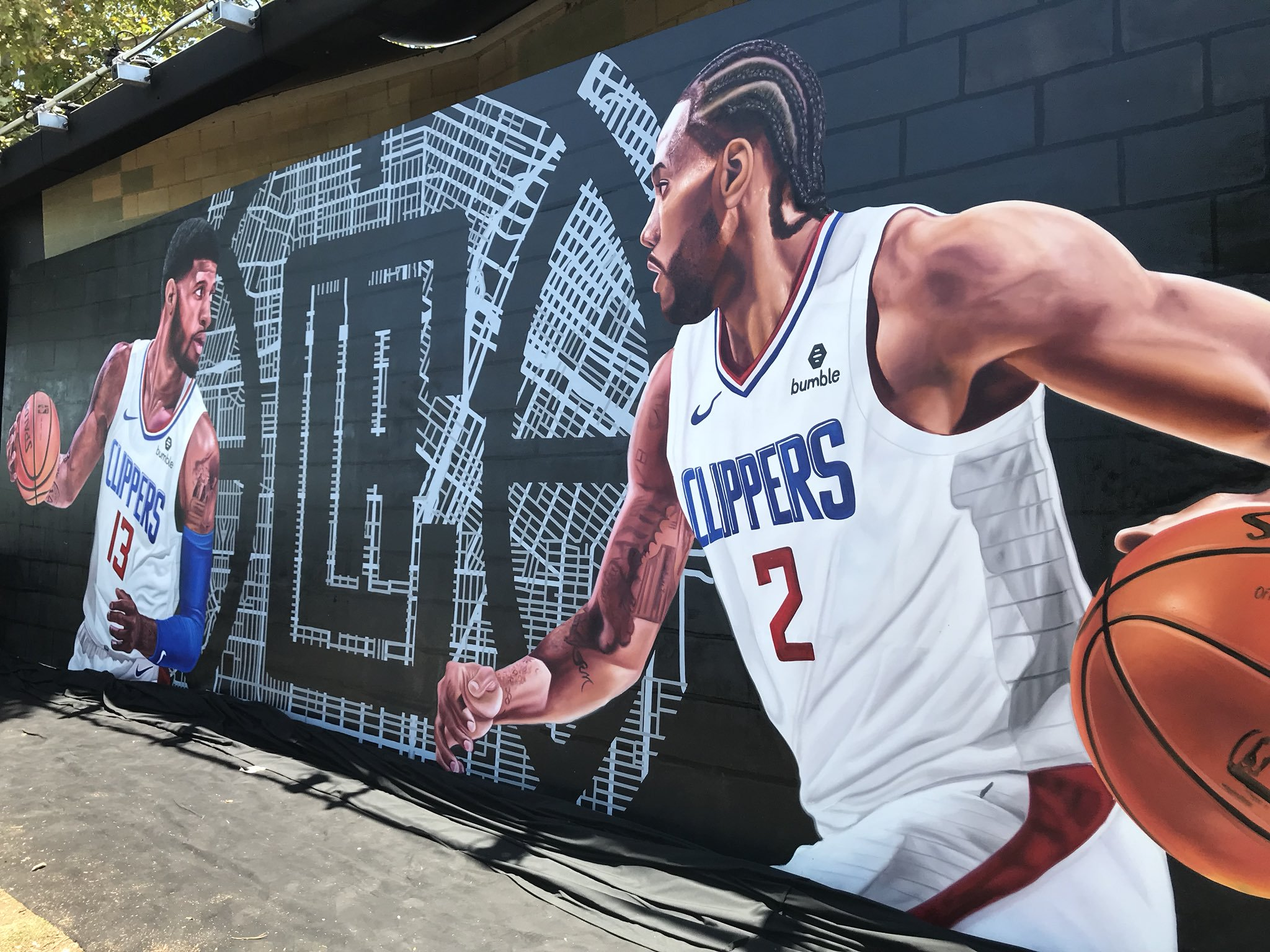 Kawhi Leonard Paul George LA CLippers Mural